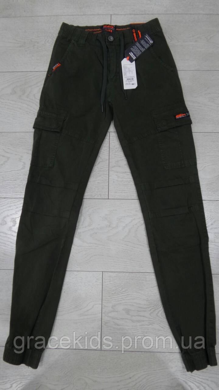 Котоновые брюки джоггеры для мальчиков с карманами подростковые GRACE,разм 134-164 см