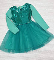 Нарядне плаття на дівчинку Попелюшка з пайеткой р. 134-152, м'ята