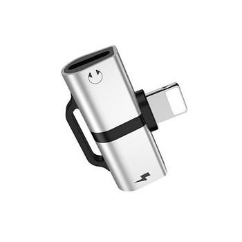 Адаптер Hoco LS20 Apple dual lightning digital audio converter Silver