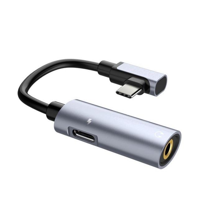 Адаптер Hoco LS19 Type-C 2-in-1 Audio Converter Metal Grey