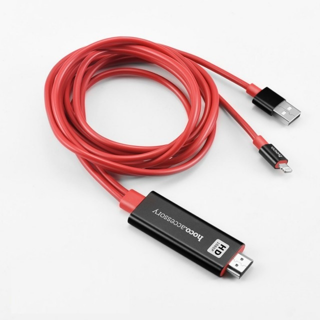 Адаптер Hoco UA4 lightning to HDMI cable adapter Black&Red