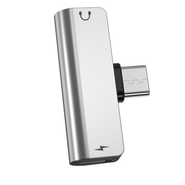Адаптер Hoco LS26 Type-C 2-in-1 audio converter Silver