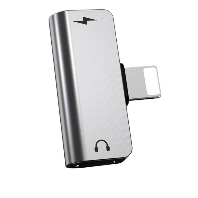Адаптер Hoco LS24 dual lightning digital audio converter for Apple Silver