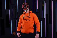 Оранжевая зимняя мужская худи, кенгуру, зимова кофта, худи на флисе в стиле Defend Paris.
