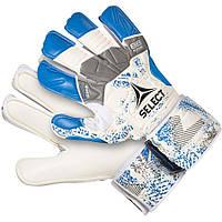 Детские вратарские перчатки Select Goalkeeper gloves 88 kids, бел/син р.6