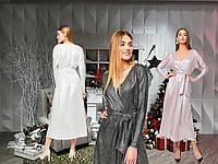 Платье миди с глубоким декольте /разные цвета, S-L, KR-Рикотта/