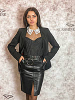 Женский пиджак из костюмной ткани с черепами, фото 1