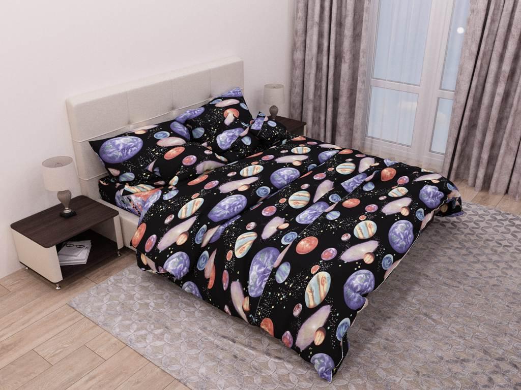 Евро комплект постельного белья «Галактика» 200х220 из бязи голд