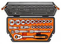 "Набор торцевых головок, трещетка Neo Tools 08-616 Набiр змiнних головок 1/2"", 23 шт."