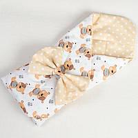 Детский летний конверт на выписку BabySoon Милые мишутки 80 х 85 см бежевый (011)