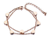 """Позолоченный женский браслет """"Сердечки"""", фото 1"""