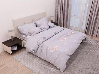Двоспальний комплект з простий. 180х220 «Фламінго і зірки» з бязі голд