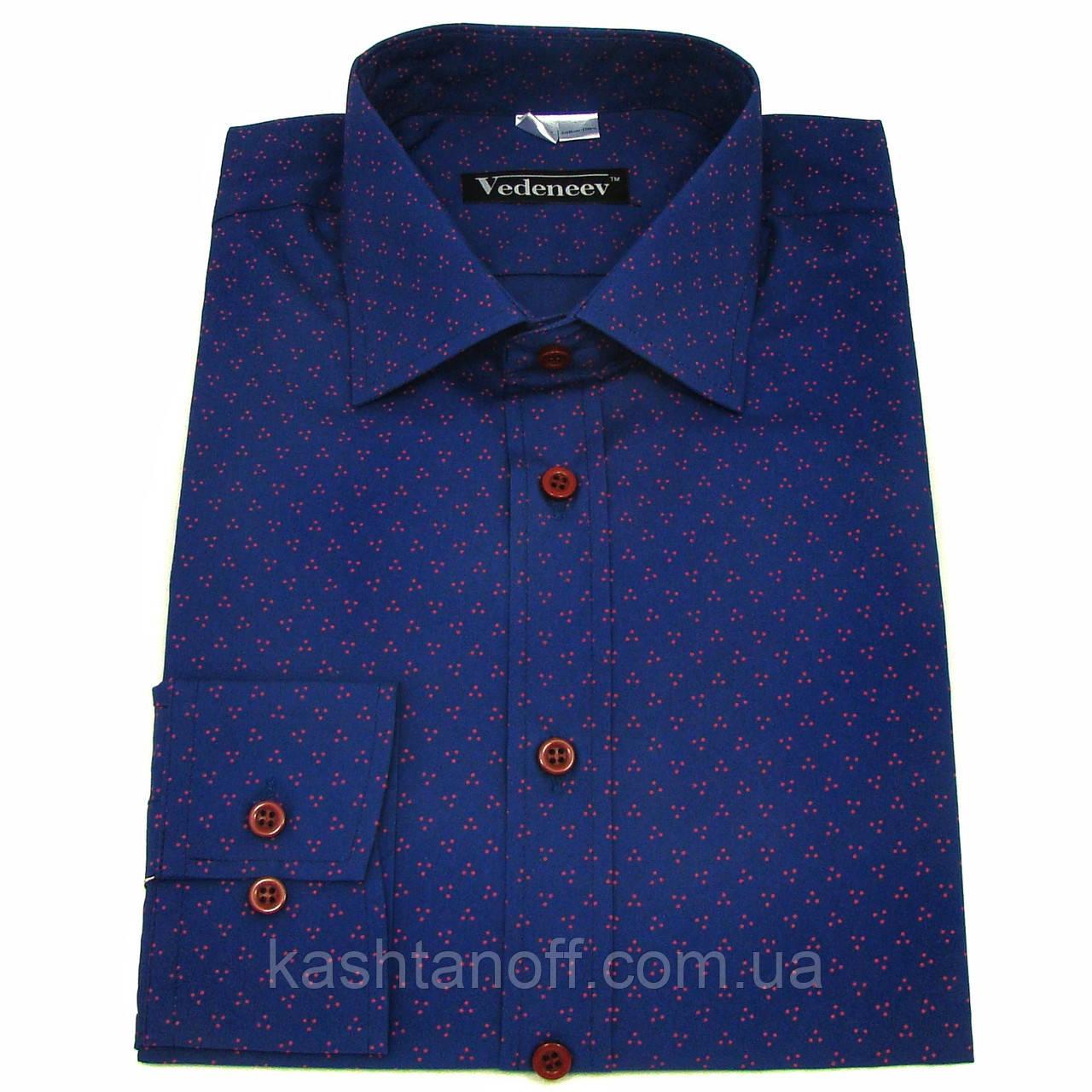 Стильная мужская рубашка полуприталенного фасона синего цвета в красную точку