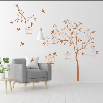 Интерьерная виниловая самоклеющаяся наклейка на обои Летний сад (наклейка дерево), матовая бежевая 1390х1500 м