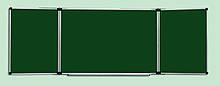Доска для мела 400x100 см в алюминиевой рамке ABC Office трехсекционная зеленая