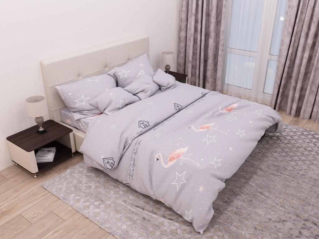 Евро комплект постельного белья «Фламинго и звезлы» 200х220 из бязи голд