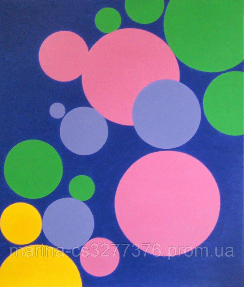 Картина Шарики с разноцветным счастьем 60х70 см холст масло галерейная натяжка современная живопись