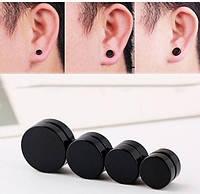 Магнитные обманки в виде тоннелей в ухо, лже плаги, 2 пары, цвет - черный, фото 1