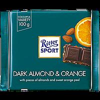 Шоколад Ritter Sport DARK ALMOND & ORANGE (миндальный орех с апельсином ) 100г (1уп/12шт)