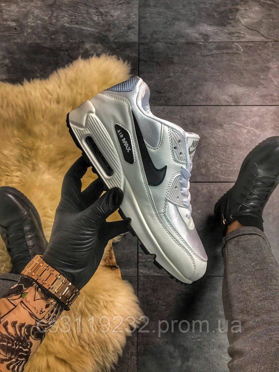 Мужские кроссовки  Nike Air Max 90 White Black (белые)