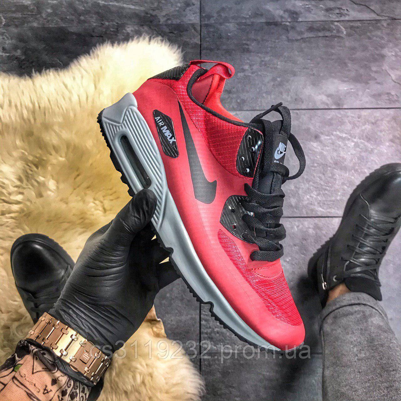 Мужские кроссовки  Nike Air Max 90 Red Grey (красные)