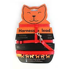 Шлея с поводком для кошек, кроликов, мелких собак Collar нейлон красная