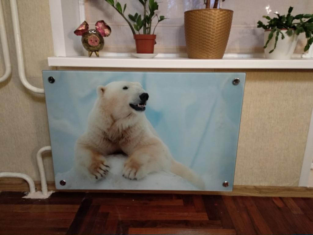 Изготовление стеклянного экрана для радиатора по индивидуальным размерам.