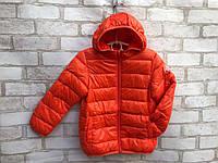 Детская демисезонная курткадля девочки от 3до 7 лет, оранжевого цвета