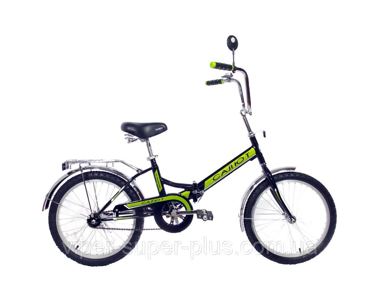 Складной велосипед Салют 20*2009 черно-зеленый