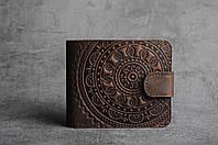 """Коричневый кожаный кошелек ручной работы с тисненым орнаментом """"Мандала"""", фото 1"""