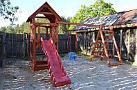 Детская площадка, детская горка, детские качели.
