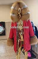Парку жіноча з хутром Gold fox, довжина 85/95 см, фото 1