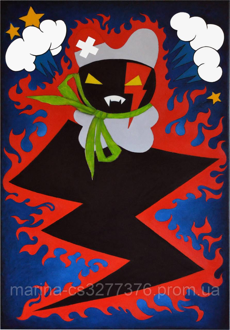 Картина Заинька в бешенстве 60х90 см холст масло галерейная натяжка современная живопись комиксы