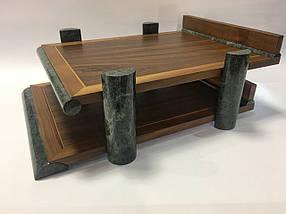 Настольный набор на 8 предметов из натурального дерева и зеленого мрамора Bestar 8286 WDN, фото 3