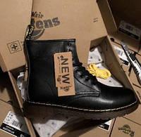 Dr. Martens 1460 Fur Winter Black | берцы/ботинки женские и мужские; черные; кожаные; зимние; с мехом; мартинс