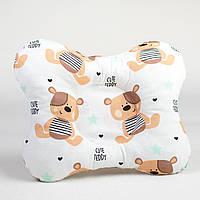 Детская ортопедическая подушка бабочка BabySoon Мишки Тедди №1 22 х 26 см (268)