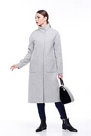 Стильное женское пальто класса люкс серое шерсть 100% размер 42-50