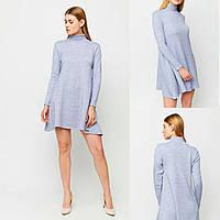 Платье голубое теплое, удобное повседневное