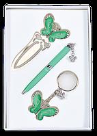Набор подарочный Langres Fly ручка шариковая + брелок + закладка зелёный