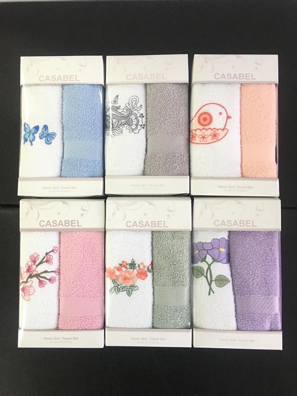 Махровые полотенца для кухни Casabel 40×60см — (2 шт в упаковке, цвета в ассортименте)