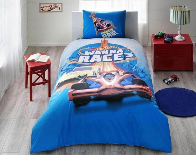 Детское подростковое постельное белье TAC Disney Hot Wheels Race Ранфорс
