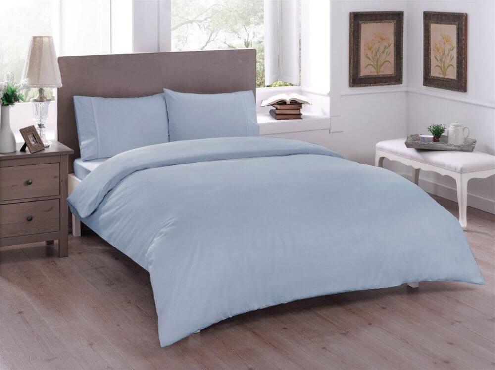 Полуторное постельное белье TAC Basic mavi Ранфорс