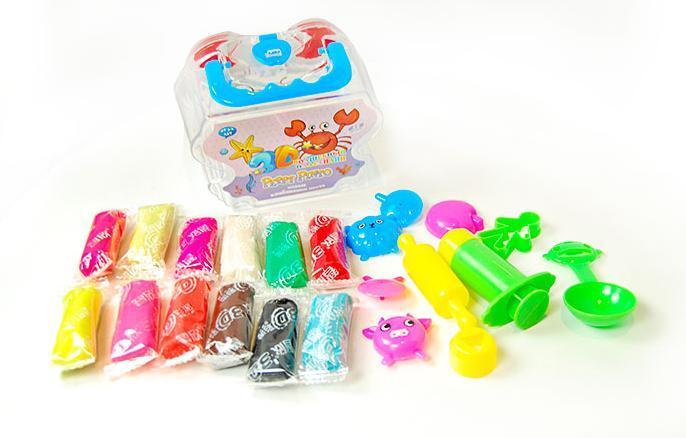 Волшебный пластилин 3D, пластиковая коробка, Крабик, 12 цветов, Peppy Pinto, ZX382, 423822