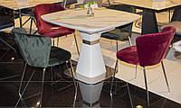 Раздвижной стол Плаза 100/140 матовый белый под мрамор от Prestol