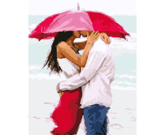 Картина по номерам Поцелуй под зонтом 3037 40*50
