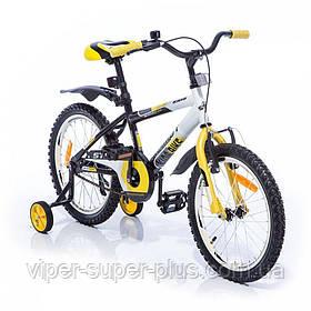 Дитячий велосипед Azimut Stitch 20-дюймів біло-жовтий