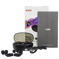◯Беспроводная Bluetooth гарнитура KUMI T5S Black Smart Touch спортивные наушники с зарядным устройством, фото 8