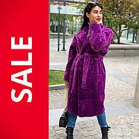 Шуба женская с поясом искусственный мех фиолетового цвета ТМ BaNiCota в размерах: 40, 44. Арт. 19322-1