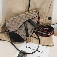 Женская тканая седельная сумка пистолет в стиле Диор черная, фото 1