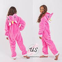 Детская теплая пижама кигуруми для девочки единорог. 2 цвета!